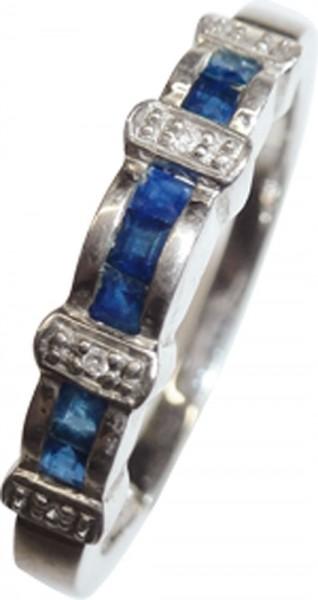 Wunderschöner Ring in echten 925/- Silber Sterlingsilber, poliert, mit 7 Safiren und 4 strahlenden Diamanten 8/8 W/P, Breite4 mm, Stärke 1,5mm, Gewicht 2,5g, Größe 19mm. Ein sehr hübsches Einzelstück, für alle, die das Besondere lieben. Abramowicz, die Nr