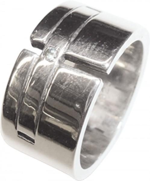 Eleganter Ring in Silber Sterlingsilber 925/- mit einem strahlenden Diamanten 8/8 W/P, Breite 10mm, Stärke 1,8mm, Gewicht 9,8g, hochglanzpoliert, Ringgröße 16,5mm. Ein glamouröser Ring zum Schnäppchenpreis von Deutschlands größtem Schmuckverkäufer – für a