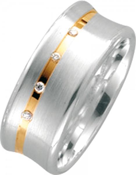 Damenring Silber Sterlingsilber 925/-  mattiert Gelbgold 585/- poliert, 17 mm, 4 Brillanten 0,032ct W/SI
