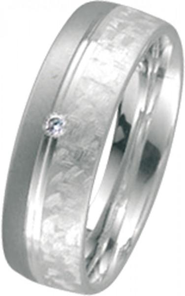 Ring Silber Sterlingsilber 925/- Palladium 585/- 17 mm satiniert, 1 Brillant0,02ct W/SI