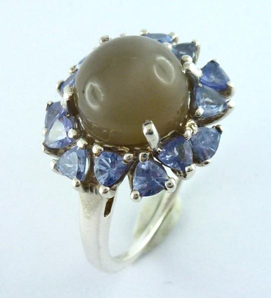 Ring 925er Sterling Silber 1 Mondsteinca...