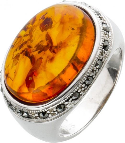 Antiker Bernstein Markarsit Ring Sterling Silber 925 cognac farbenen