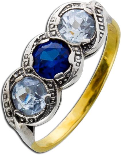 Antiker Ring blauer Saphir facettierte B...