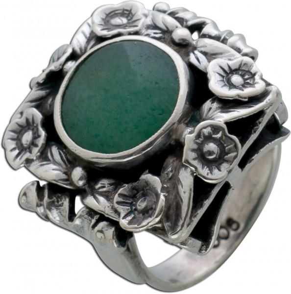 Trachten Ring Bayrisch Silber 900/- Grü...