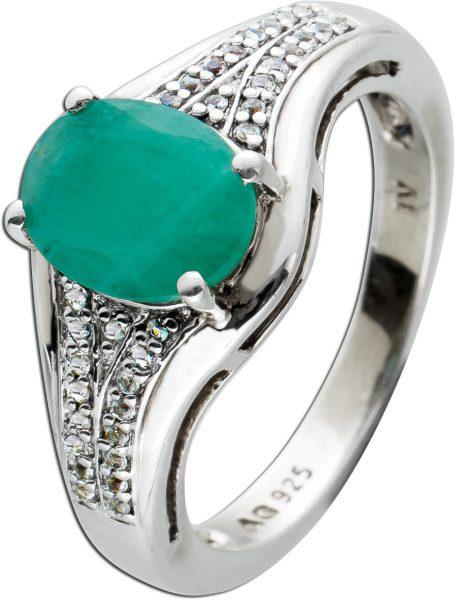 Smaragd Diamant Ring Silber 925 grüner Edelstein oval facettiert ca 1,5ct weisse Diamanten 8/8 W/P zus. 0,04ct