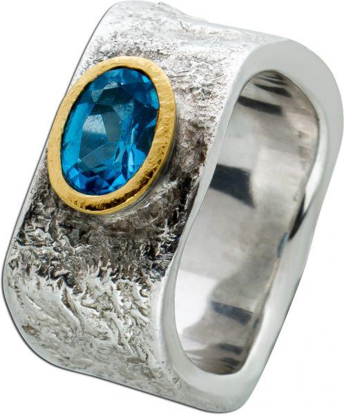 Antiker Blautopas Edelstein Ring Silber 925 Lapponia Look  Gelb Gold 750 Zargenfassung Gr. 18mm