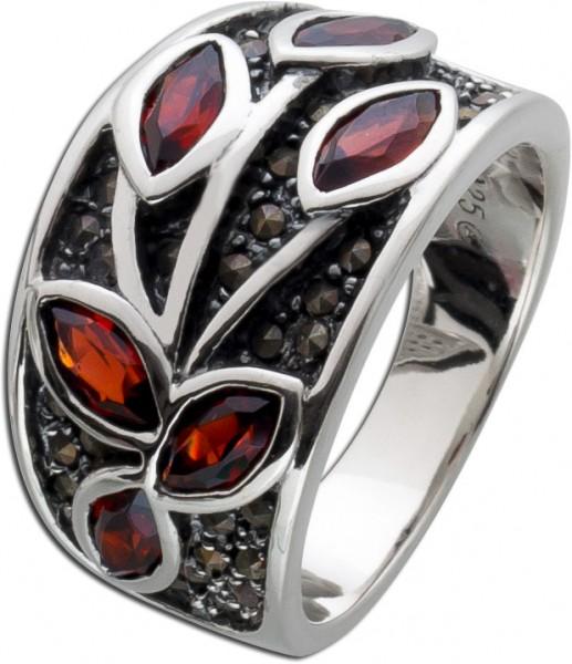 Roter Edelsteinring  Silber 925 Granat Markasit