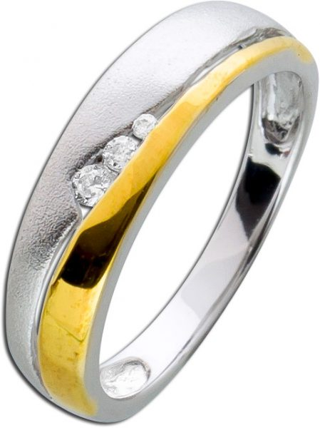 Bicolor Ring Damen Silber 925 Zirkonia Damenschmuck