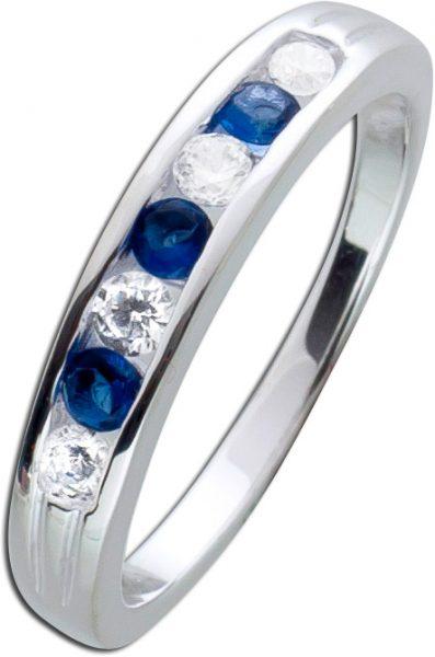 Saphirfarbiger Zirkoniaring Silber 925 Zirkonia synth. nachtblaue Safire