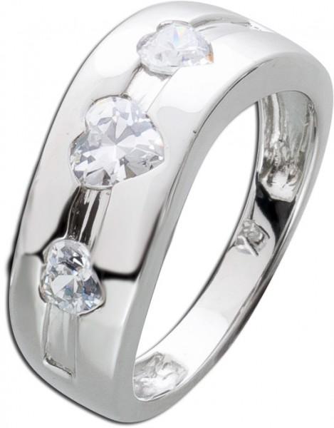 Damen Ring Silberring Herz Herzring Silber  925 weisse klare Zirkonia Herzen