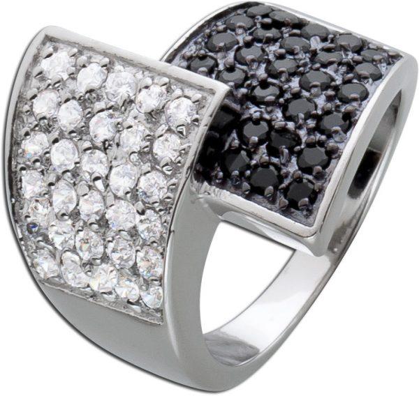 Zirkoniaring schwarz weiß Sterling Silber 925