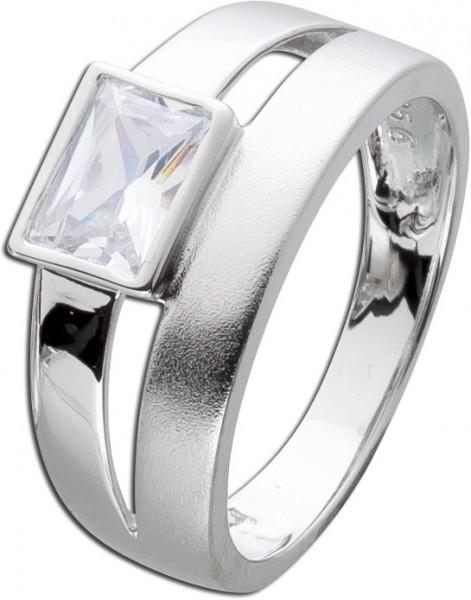 Silberring Zirkoniaring Damenring Sterling Silber 925 weißer Zirkoniastein poliert mattiert  zeitloser Klassiker