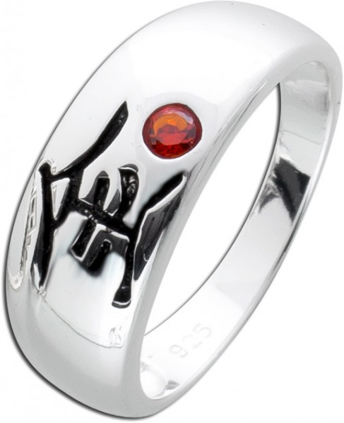Silberring 925 roter Granat roter Edelstein