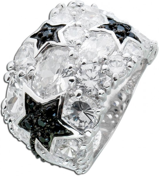 Schwarz weiß Zirkonia Ring Sterling Silber 925