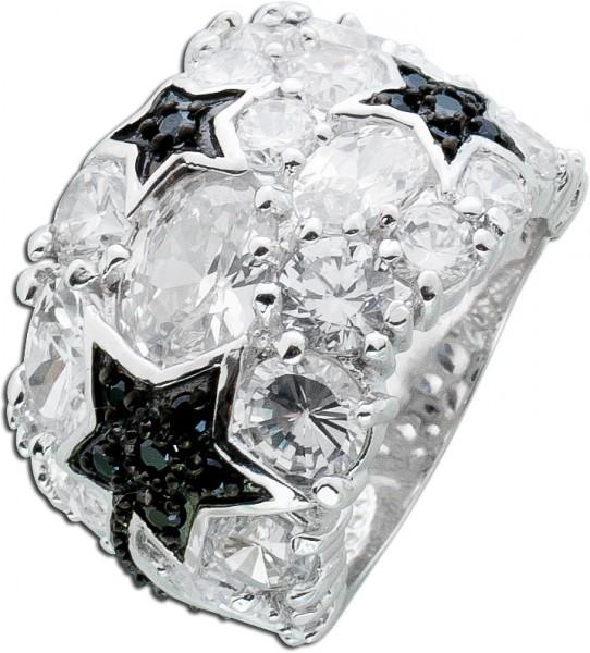Schwarz weiß Zirkonia Ring Sterling Sil...