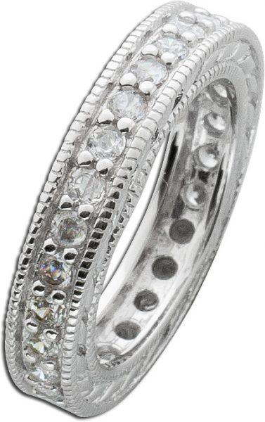 Silberring weißen Zirkonia Memory Ring Silber 925 Ansteckring