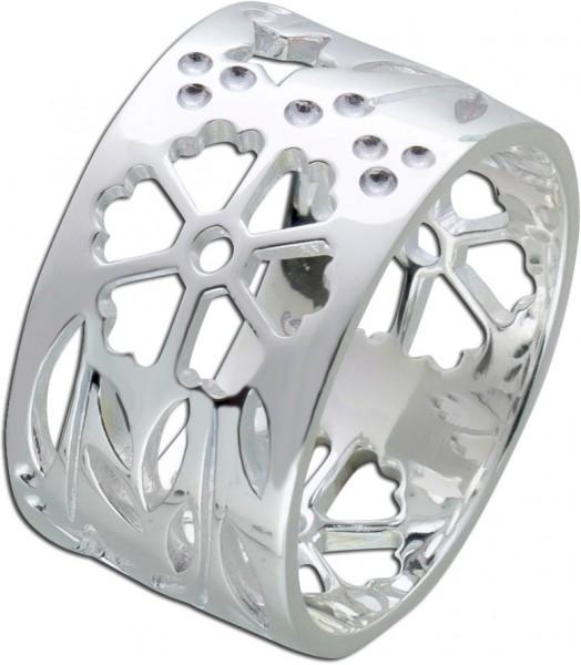 Silber Ring Damenring Blütenmuster Ster...