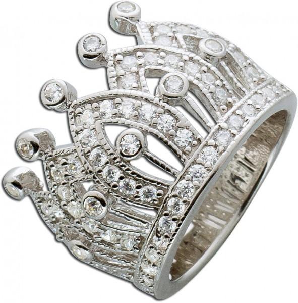 Silberring Ring Krone Silber 925 weisse ...