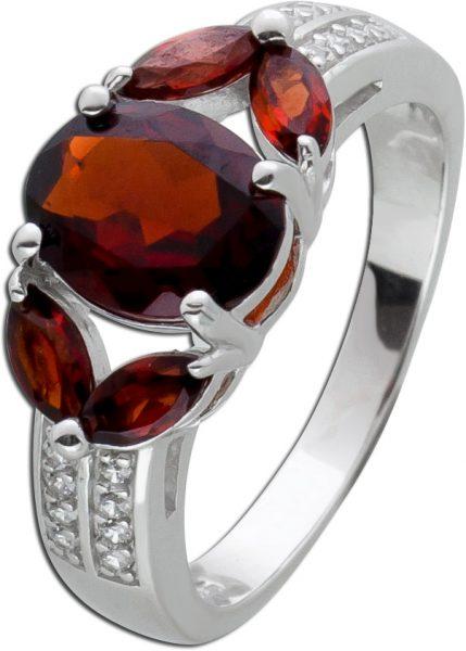 Granat Edelsteinring Silberring 925/- roter Granat weisse Zirkonia