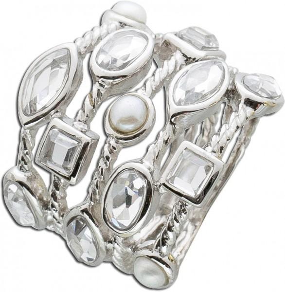 Perlenring weißen Süßwasserzuchtperlen Zirkonia Silberring 925