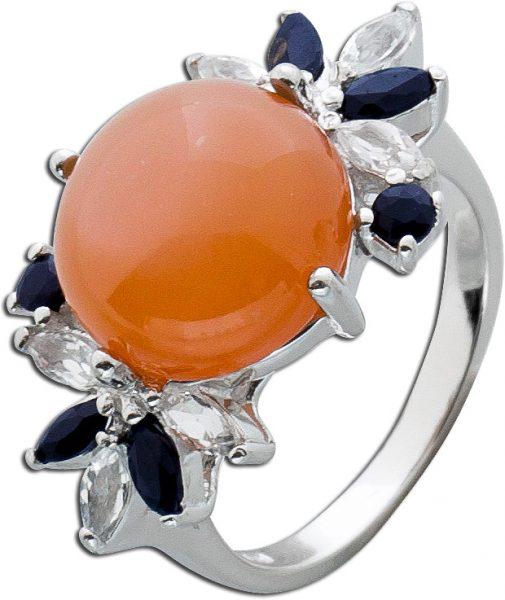 Orangefarbenener Mondstein Ring nachtblauen Safiren weissen Topasen Sterling Silber 925 Edelsteinenschmuck