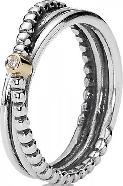 PANDORA Ring 190243D Glatter Metallperlen 925 Sterling Silber Diamant