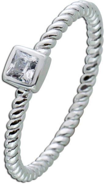 Silbering weiß funkelndem Zikonia Sterling Silber 925