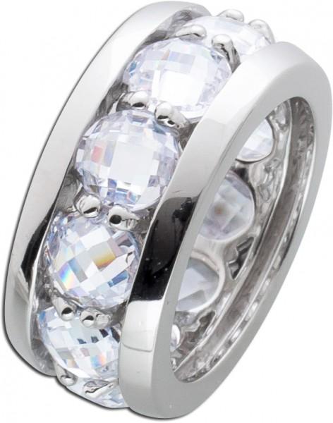 Zirkoniaring Memory Ring Ansteckring Silberring Sterling Silber 925 Memoire Ring weisse Zirkonia handgefasst