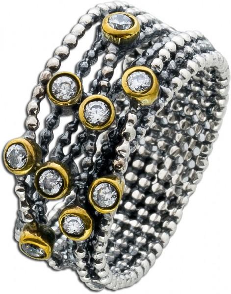 Zirkonia Ring Damenring Sterling Silber 925 geschwärzt Damenschmuck