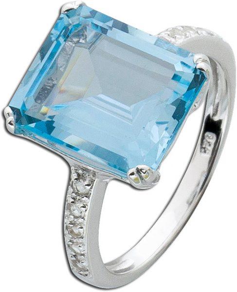 Ring Blautopas Silberring 925 weißer Topas
