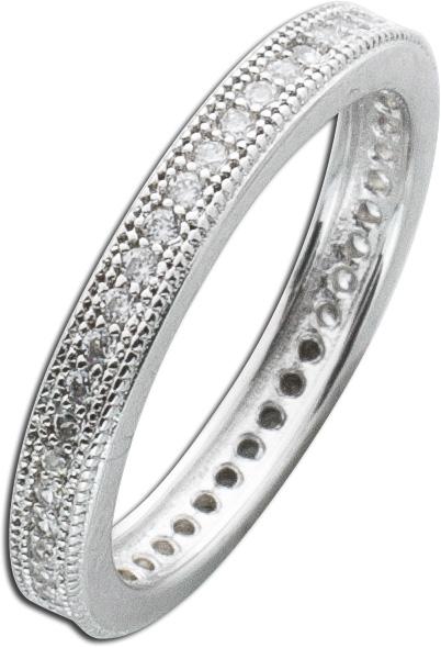 Silberring Memoire Ring weißem Zirkonia Silber 925