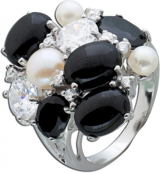 Ring Sterling Silber 925 Süßwasserzuchtperlen Zirkonia