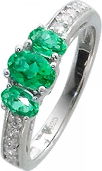Traumhafter Ring in Silber Sterlingsilber 925/-, poliert, mit 3 grünen Glassteinen und 10 funkelnden Zirkonia, Ringkopf 6x12mm, Ringschienenbreite 3mm, Stärke 1,2mm, lieferbar in den Größen 16-20mm. Premiumqualität zum Hammerpreis – nur bei Abramowicz aus
