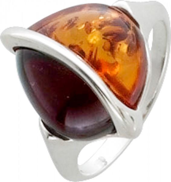 Wunderschöner Ring mit hellem gold schimmernden und dunklen Bernstein besetzt, eingefasst in kühlem Silber Sterlingsilber 925/-. Ringkopfbreite 17X14mm, Ringschiene Breite 3mm, Stärke 1,5mm, mit leicht nach unten verjüngenden Ringschiene, hochglanzpoliert