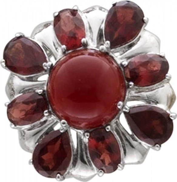 Ring in Silber Sterlingsilber 925/- roter Achat, Granaten Größen 16 mm – 20 mm