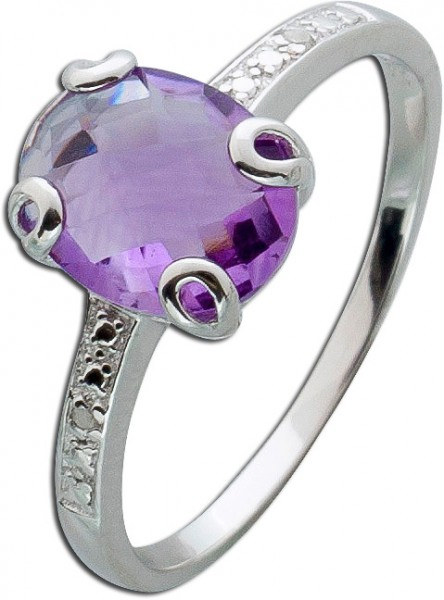 Amethyst Ring lila Edelsteinring violett Diamanten Silber 925