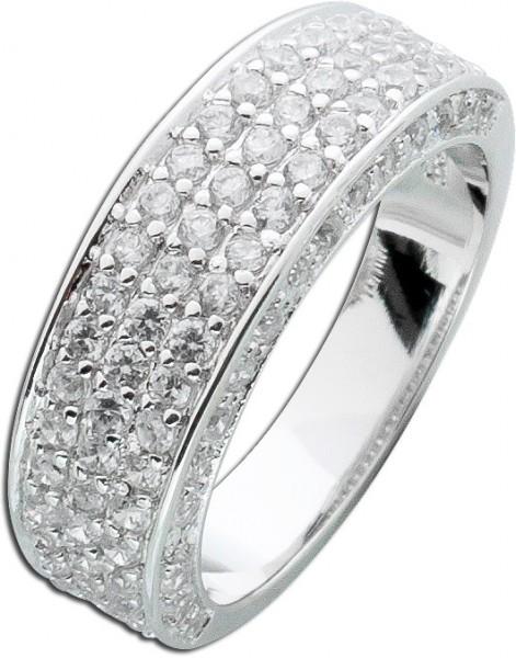 Ring Silber Sterling 925 Zirkonia 3-reih...