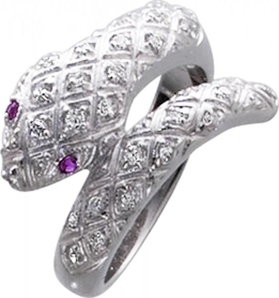 Ring in Silber Sterlingsilber 925/- schlange mit weissenzirkonia 28stück und 2 rotezirkonia, breite 13mm, st 1,2mm