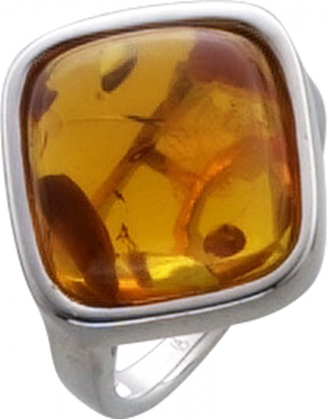 Bernstein Schmuck Ring in Silber Sterlingsilber 925/- rhodiniert mit braunem Bernstein 16-20 mm
