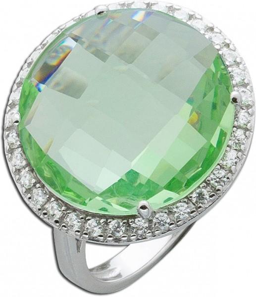 Ring Silber 925 grün weiße Zirkonia Si...