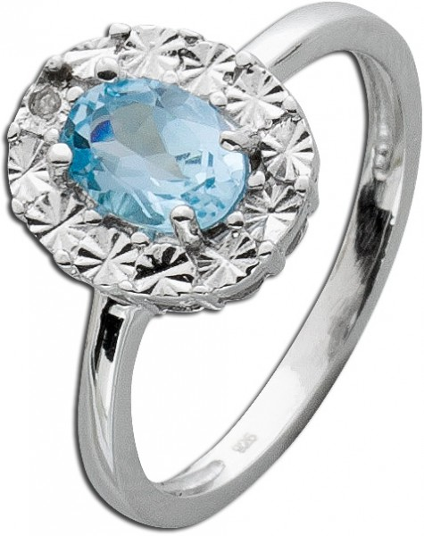 Blautopas Silberring 925 Diamant 8/8