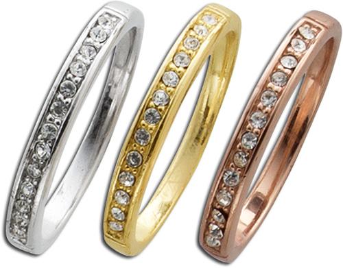 Ring Sterling Silber 925 3-teilig Zirkon...