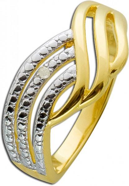 Diamant Ring Silber 925 vergoldet Silberring Diamantschmuck