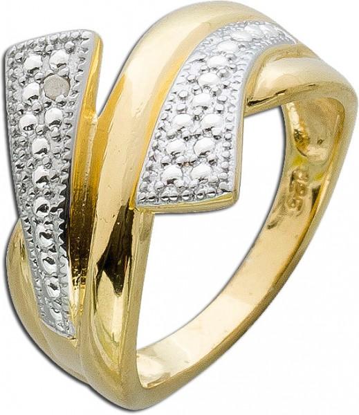 Ring Sterling Silber 925 gelbvergoldet Diamanten
