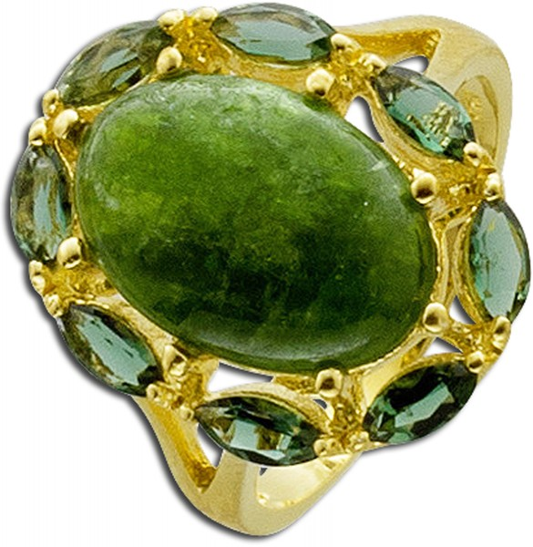 Edelsteinring grün Ring Silber 925 vergoldet Chromdiopsit Cabochon Quarz