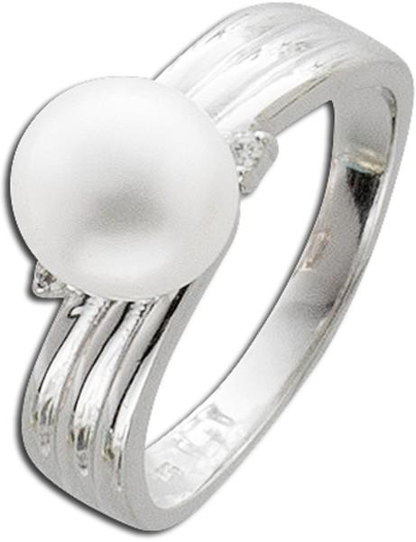 Perlenring Silber 925 weißer Süßwasserzuchtperle Zirkonia