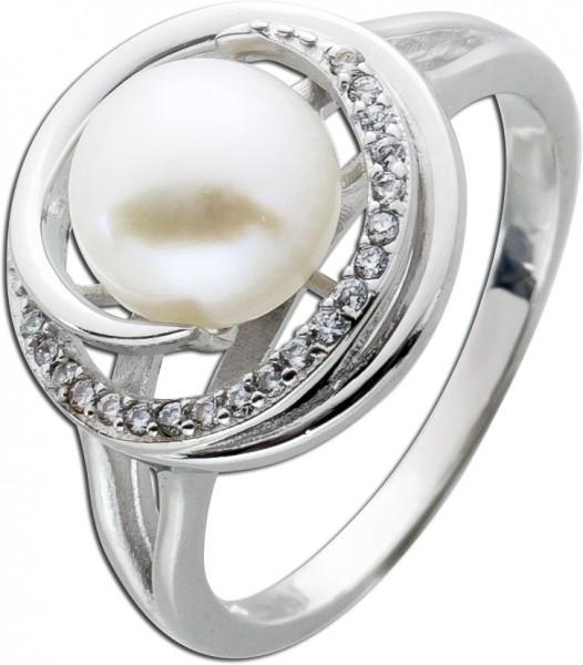 Perlenring weißer Süsswasserzuchtperle Silber 925 Zirkonia