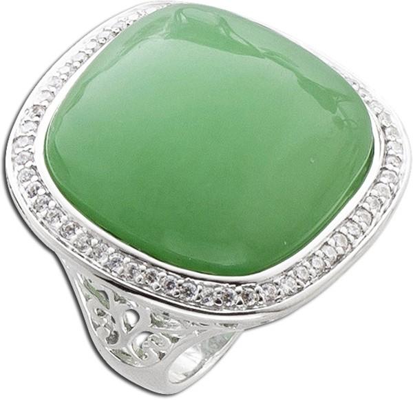 Grüner Quartz Edelstein Ring Zirkonia Silber 925 Lady Di Style
