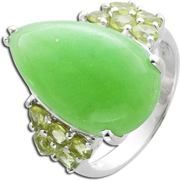 Edelstein grün Ring Silber 925 Jade Per...