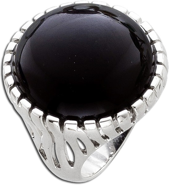 Schwarzer Onyx Ring Edelsteinschmuck Sterling Silber 925/-